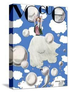 Vogue Cover - January 1932 - Clouds and Bubbles by Georges Lepape
