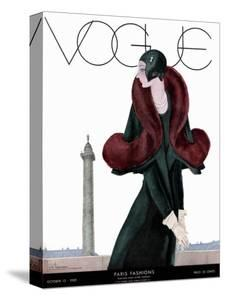 Vogue Cover - October 1929 - Fur Fashion by Georges Lepape