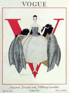 Vogue Cover - September 1920 - Wrapped in Feathers by Georges Lepape