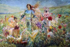 The Knight with the Flower Nymphs by Georges Rochegrosse