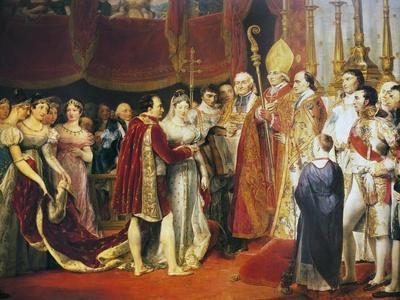 Religious Marriage of Napoleon I and Marie-Louise in Salon Carre at Louvre, on 2 April, 1810