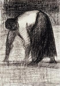 A Peasant Woman with Hands in the Ground by Georges Seurat
