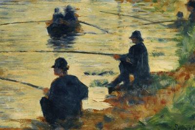 """Les pecheurs a la ligne-fishermen; study for """" La Grande Jatte"""", 1883"""