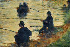 """Les pecheurs a la ligne-fishermen; study for """" La Grande Jatte"""", 1883 by Georges Seurat"""