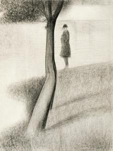 Man Standing Next to Tree; Study on La Grande Jatte, 1884-1885 by Georges Seurat
