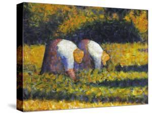 Seurat: Farm Women, C1882 by Georges Seurat