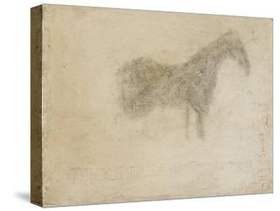 Silhouette d'un cheval, de profil à droite