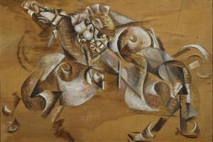 Lion Attacking a Horse, 1917-1918 by Georgi Bogdanovich Yakulov