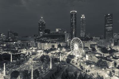 Georgia, Atlanta, Centennial Olympic Park, Elevated City View at Dusk-Walter Bibikow-Photographic Print