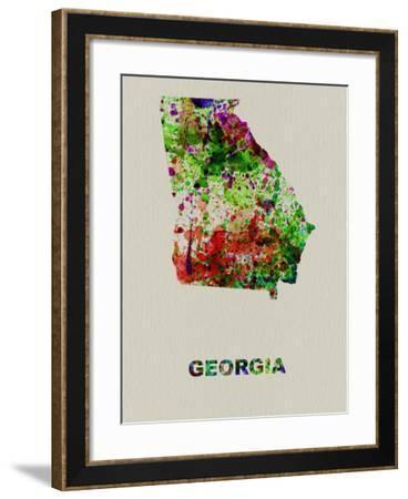 Georgia Color Splatter Map-NaxArt-Framed Art Print