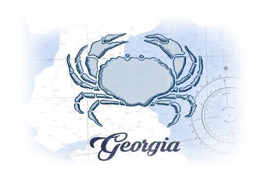 Georgia - Crab - Blue - Coastal Icon-Lantern Press-Art Print