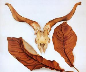 Ram's Skull with Brown Leaves by Georgia O'Keeffe