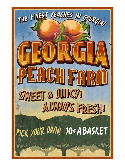 Georgia - Peach Farm-Lantern Press-Art Print