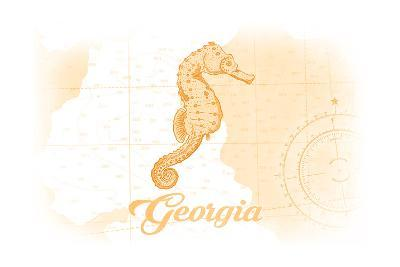 Georgia - Seahorse - Yellow - Coastal Icon-Lantern Press-Art Print