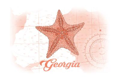 Georgia - Starfish - Coral - Coastal Icon-Lantern Press-Art Print
