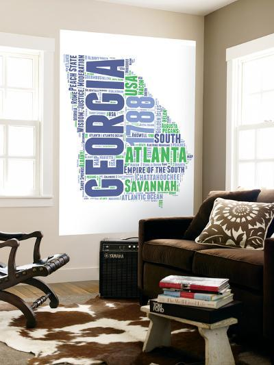 Georgia Word Cloud Map-NaxArt-Wall Mural