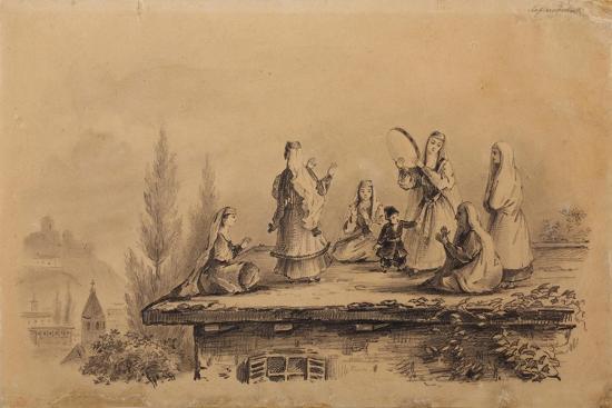Georgian Women on the Roof (Lezghink), 1837-Mikhail Yuryevich Lermontov-Giclee Print