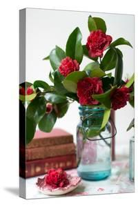 Cut Blossoms of Red Camellia in Blue Jars with Vintage Books in Front of a Window by Georgianna Lane