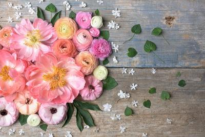 Overhead Shot of Ranunculus, Peonies and Anemones