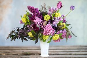 Spring Floral Bouquet with Lilacs, Tulips, Snowball Bush, Hellebore and Euphorbia by Georgianna Lane