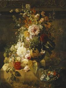 Roses, Convolvuli, Carnations, Hollyhocks, Peonies, Lilac and Other Flowers in a Vase by Georgius Jacobus Os