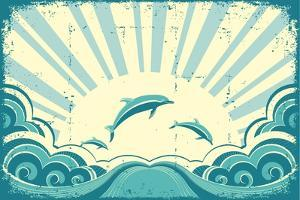 Blue Dolphins Jumping In Sea In Summer Day by GeraKTV