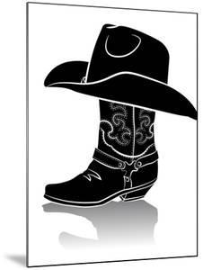 Cowboy Boot And Western Hat.Black Graphic Image On White by GeraKTV