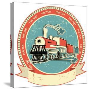 Locomotive Label.Vintage Style on Old Texture by GeraKTV