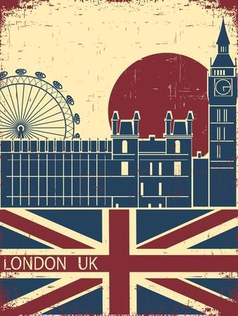 London Landmark.Vintage Background With England Flag On Old Poster