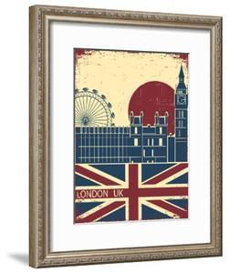 London Landmark.Vintage Background With England Flag On Old Poster by GeraKTV