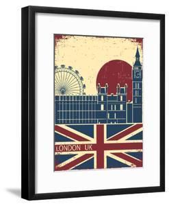 London Landmark.Vintage Background With England Flag On Old Poster by GeraKTV