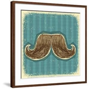 Mustaches Symbol Set On Old Paper Texture.Vintage Background by GeraKTV