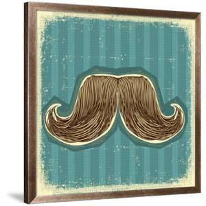 Mustaches Symbol Set On Old Paper Texture.Vintage Background by GeraKTV
