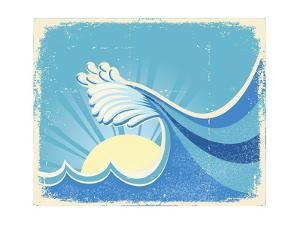 Sea Big Wave. Vintage Old Illustration Of Sea Landscape by GeraKTV