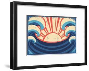 Sea Poster.Grunge Illustration Of Sea Landscape by GeraKTV