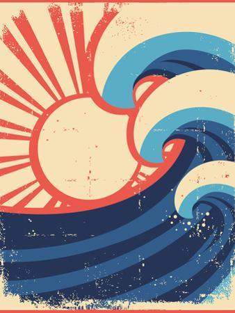 Sea Waves Poster.Grunge Illustration Of Sea Landscape