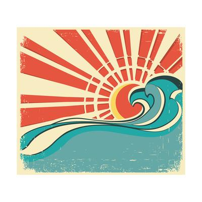Sea Waves.Vintage Illustration Of Nature Poster With Sun On Old Paper