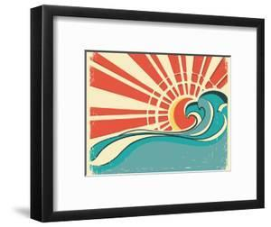 Sea Waves.Vintage Illustration Of Nature Poster With Sun On Old Paper by GeraKTV