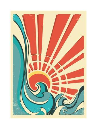 Sea Waves.Vintage Illustration Of Nature Poster With Yellow Sun On Old Paper Texture