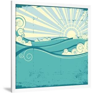 Sea Waves. Vintage Illustration Of Sea Landscape by GeraKTV