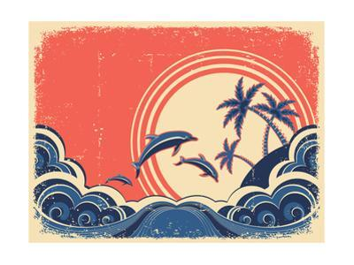 Seascape Waves Poster With Dolphins Grunge Illustration On Old Paper