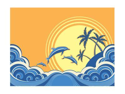 Seascape Waves Poster With Dolphins