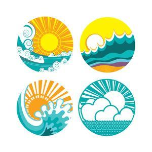 Sun And Sea Waves Icons Of Illustration Of Seascape For Design by GeraKTV