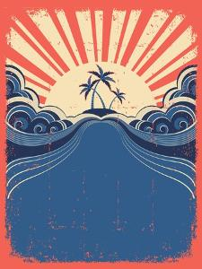 Tropical Background With Palms On Grunge Poster by GeraKTV