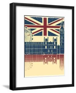 Vintage London Poster On Old Background Texture With England Flag by GeraKTV