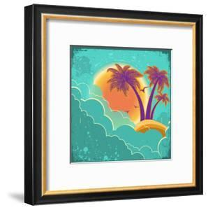 Vintage Tropical Island Background With Sun And Dark Clouds On Old Paper Poster by GeraKTV