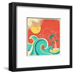 Vintage Tropical Poster With Island And Palms by GeraKTV