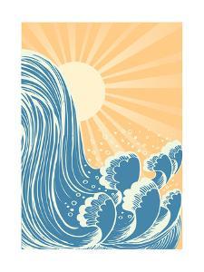 Waterfall, Blue Water Waves With Sun by GeraKTV