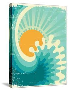 Wave In Ocean.Water Nature Background With Sun.Vintage by GeraKTV