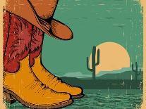 Western Background With Cowboy Shoes And Desert Landscape On Old Paper-GeraKTV-Art Print